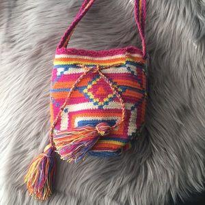Festival tapestry tassel mini crossbody bag